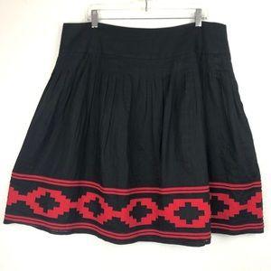 LAUREN RALPH LAUREN Pleated Aztec Linen Midi Skirt